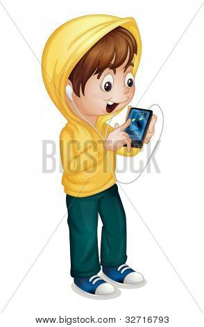 Illustration of  boy using a tablet pc - EPS VECTOR format also available in my portfolio.