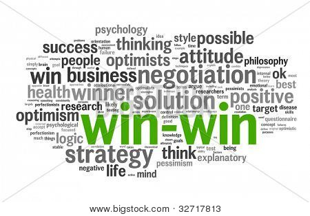 Win-win - winning solution concept in word tag cloud on white background