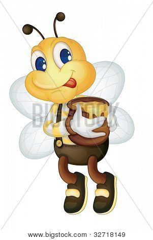 Illustration of a bee with a honey pot - EPS VECTOR format also available in my portfolio.