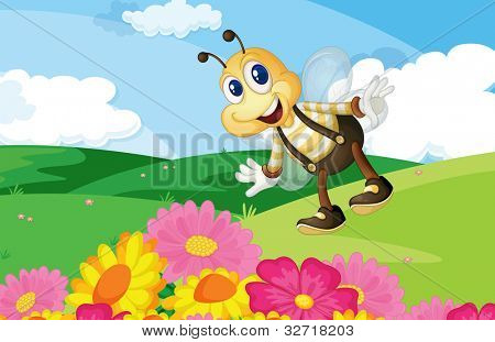 Cute bee in a flower field - EPS VECTOR format also available in my portfolio.