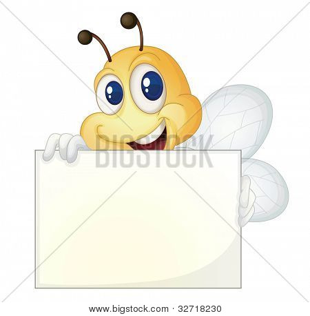 Cute bee holding a white sign - EPS VECTOR format also available in my portfolio.