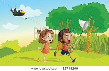 Crianças correndo no parque com net - formato VETORIAL EPS também disponível na minha carteira.