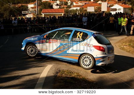 Castelo Branco, Portugal - March 10: Pedro Fins Drives A Peugeot 206 Gti During Rally Castelo Branco