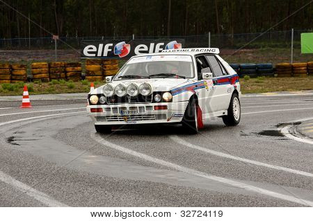 Leiria, Portugal - April 20: Jorge Carvalheiro Drives A Lancia Delta Integrale During Day One Of Ral