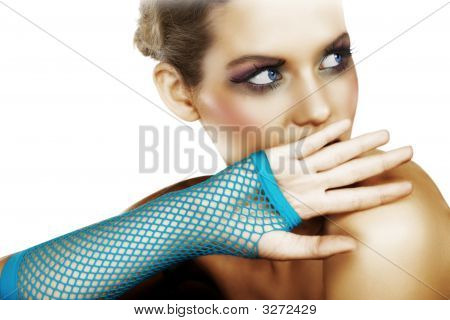 Scared Woman In Blue