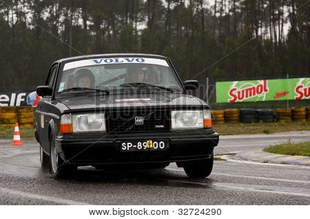 Leiria, Portugal - April 20: Manuel Baptista Drives A Volvo 244 During Day One Of Rally Verde Pino 2