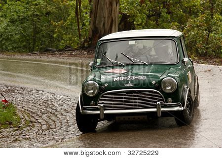 Leiria, Portugal - April 21: Jorge Almeida Drives A Austin Cooper S During Day Two Of Rally Verde Pi