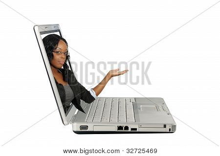 Beautiful Hostess On A Laptop Screen (2)