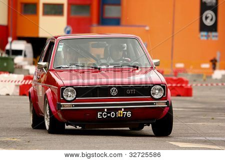 Leiria, Portugal - April 22: Paulo Silva Drives A Vw Golf Gti During Day Three Of Rally Verde Pino 2