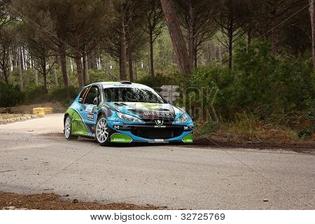 Marinha Grande, Portugal - April 14: Andre Marques Drives A Peugeot 206 S1600S During Rally Vidreiro