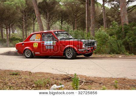 Marinha Grande, Portugal - April 14: Carlos Neves Drives A Datsun 1200 During Rally Vidreiro 2012, I