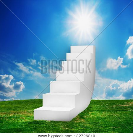 White stairs on the field. Way to success, way to heaven concepts etc.