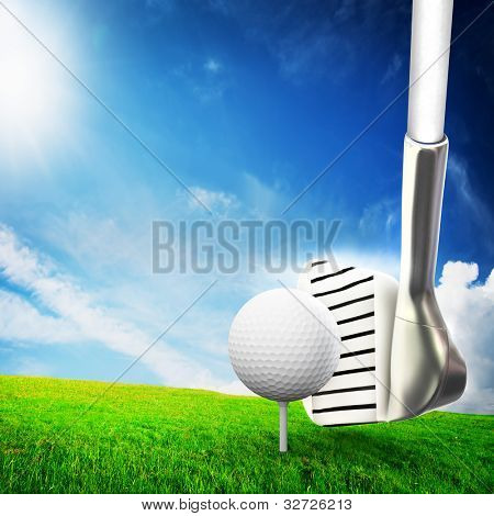 Playing golf. Ball on tee, a golf club ready to shot. Sunny summer scene