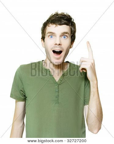 Excited Isolated Man Pointing To Blank Copyspace