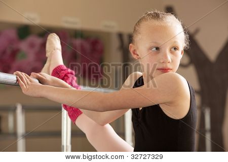 Ballet Student Looks Over