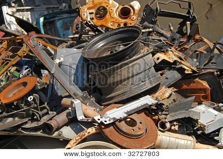 Scrap heap of used automobile parts