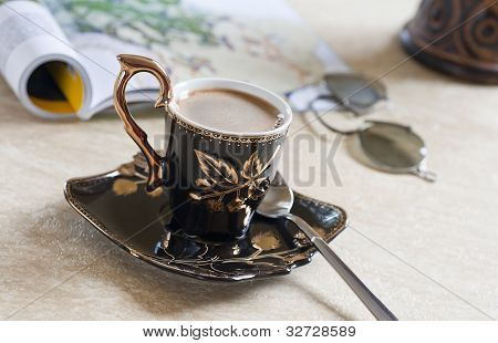 Cup With Coffe On Table