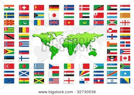 Country Flags with World Map