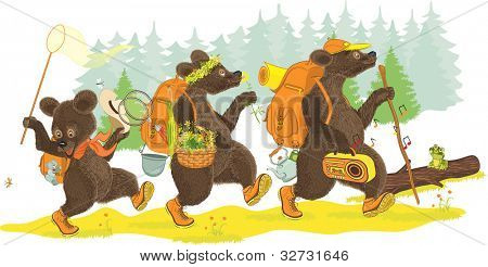 Family of bears traveling on forest. Isolated over white background. All objects are grouped.