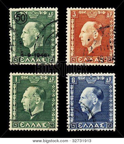 Greek king George on 4 stamps