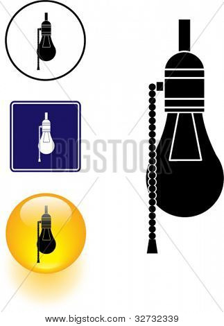 bulb lamp symbol sign and button