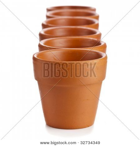 Row of Clay Empty Flower Pots on white