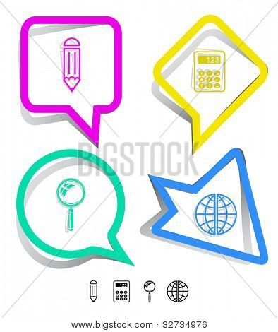 Education icon set. Magnifying glass, globe, calculator, pencil. Paper stickers. Vector illustration.