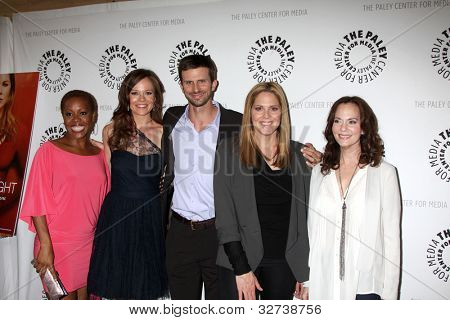LOS ANGELES - APR 14:  Tangy Ambrose, Rachel Boston, Frederick Weller, Lesley Ann Warren and Mary McCormack arrive at 'In Plain Sight' at The Paley Center on April 14, 2012 in Beverly Hills,