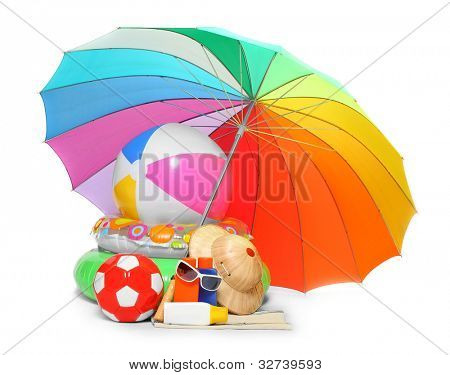 UV protection equipment, sun lotion and floating water toys on a white background.