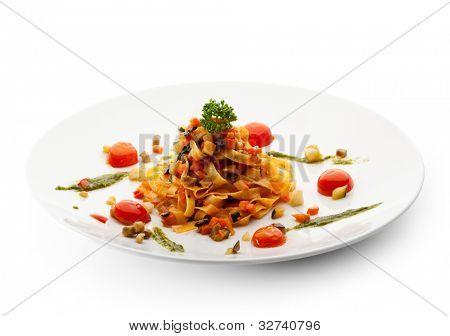 Vegetarian Tagliatelle with Cherry Tomato and Pesto Sauce