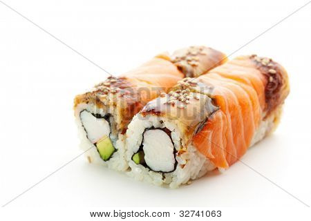 Maki Sushi - Roll with Avocado and Crabmeat inside. Salmon and Smoked Eel (unagi) ouside