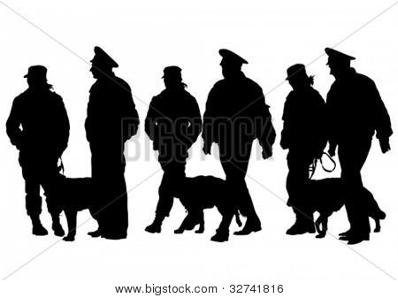 Vector drawing of a police man whit dog