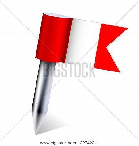 Постер, плакат: Флаг страны Перу вектор изолированные на белом Eps10, холст на подрамнике