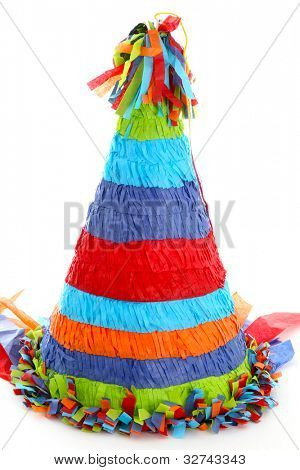 Colorful Pinata Isolated On A White Background