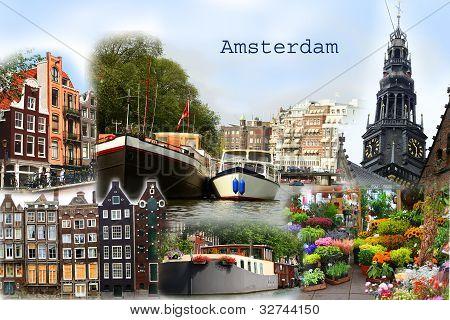 Amsterdam Collage Postcard