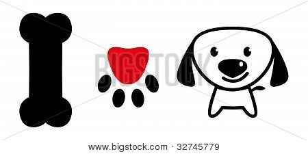 I Love Dog Sign With Bone,pup's Paw And Cute Puppy