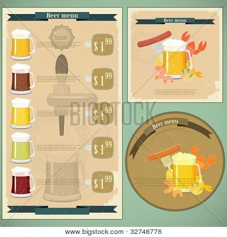 Vintage Postcard, Cover Menu - Beer, Beer Snack