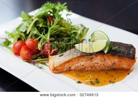 Smoked trout with vegetables and laim