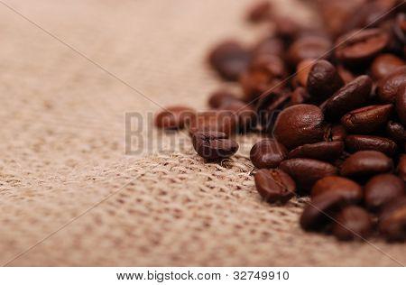 dark coffee beans over canvas