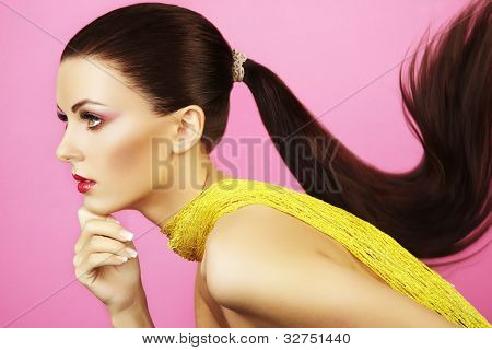 Fashion Photo Of  Beautiful Woman With  Ponytail