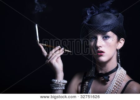 Woman With Cigarette Vintage Hat