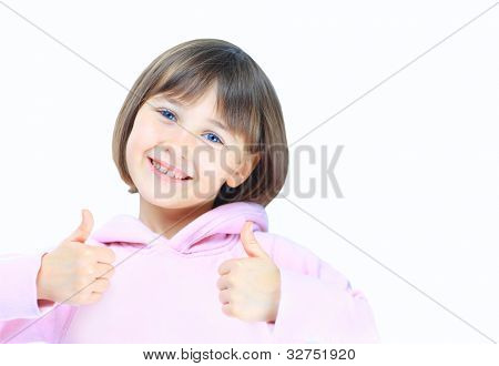 a little girl with thumb up isolated on white background