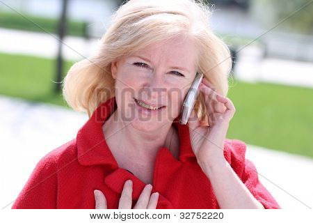 Closeup portrait of a happy mature woman