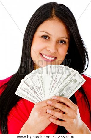 Rich woman holding a bunch of bills - isolated over a white background