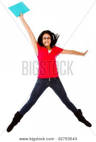 Excited female student jumping - isolated over a white background