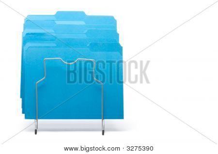 Blue File Folders In Rack.