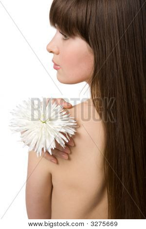 Naked Attractive Brunette With Chrysanthemum