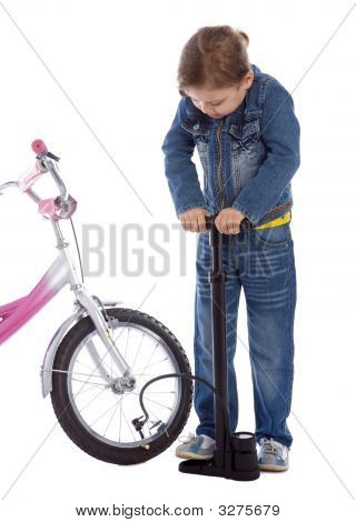 Young Girl Inflate Wheel Her Bike