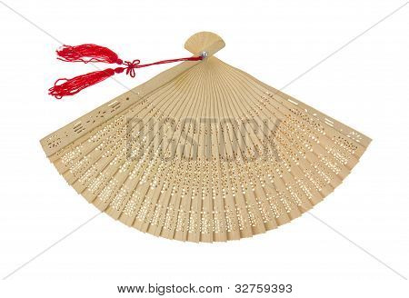 Opened Oriental Fan With Tassels