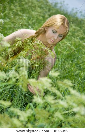 Beauty Girl In Summer Forest